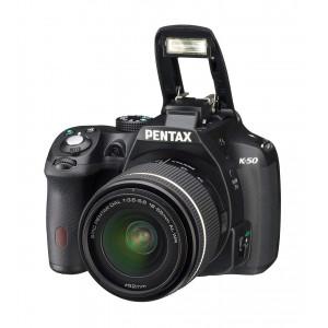 Pentax K-50 16 MP Digital SLR Camera Kit with DAL 18-55 mm WR f/3.5-5.6 and 50-200 mm WR Lenses (Black)
