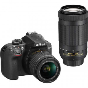 Nikon D3400 Digital SLR Camera with 18-55mm and 70-300mm Lenses (Black)